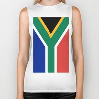 south africa Biker Tanks featuring Flag of South Africa by Neville Hawkins