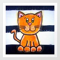BW YELLOW cat  Art Print