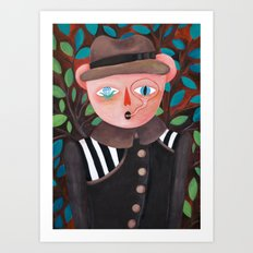 Bear in a coat Art Print