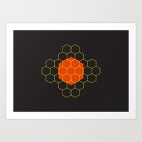 hexagon Art Prints featuring HEXAGON by KARNATARKA
