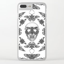 Moth Skull Pattern Clear iPhone Case