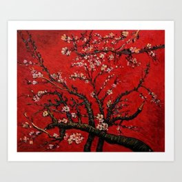 Almond Tree in Blossom - Red Motif by Vincent van Gogh Art Print