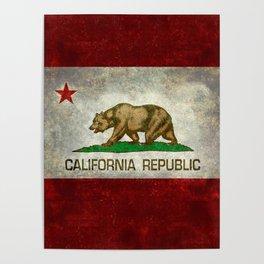 California Republic state flag Vintage Poster