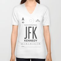 jfk V-neck T-shirts featuring JFK TAG  by Studio Tesouro