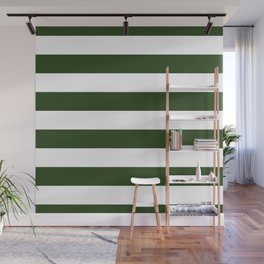 Large Dark Forest Green and White Cabana Tent Stripes Wall Mural