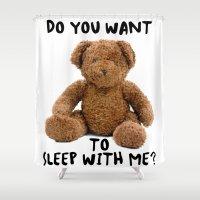 teddy bear Shower Curtains featuring teddy bear by ulas okuyucu