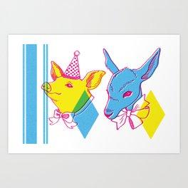 Circus Taxidermy freakshow birthday pair Art Print
