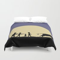 zombies Duvet Covers featuring Hungry zombies by Pierre Simonnet