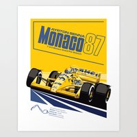senna Art Prints featuring Ayrton Senna 1987 by Sean Kane Design