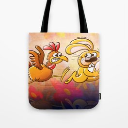 Easter Bunny Stealing an Egg from a Furious Hen Tote Bag