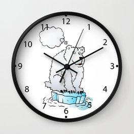 Polar bear on an ice floe Wall Clock