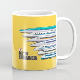 Shinkansen Bullet Train Evolution - Yellow Coffee Mug