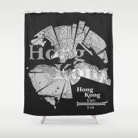 hong kong Shower Curtains featuring Hong Kong Map by Shirt Urbanization