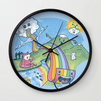 pasta Wall Clocks featuring Rainbow Pasta by Ian Byers