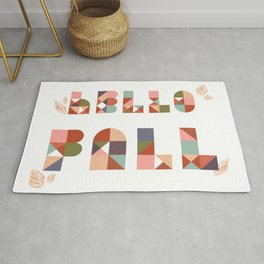 Hello Fall Rose Dust + Mint Geometric Boho Typography Art Rug