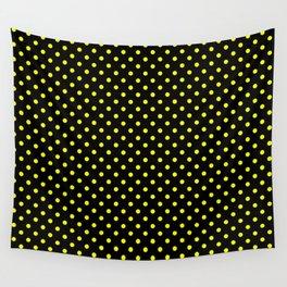 Polka dots Yellow dots over black Wall Tapestry