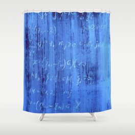 Blue mathematical equations pattern Shower Curtain
