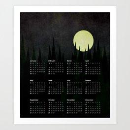 2017 Calendar A Moonlit Forest Art Print