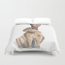 Rabbit in Grass Watercolor Duvet Cover
