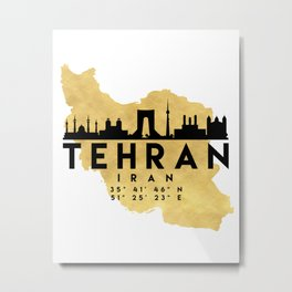 TEHRAN IRAN SILHOUETTE SKYLINE MAP ART Metal Print
