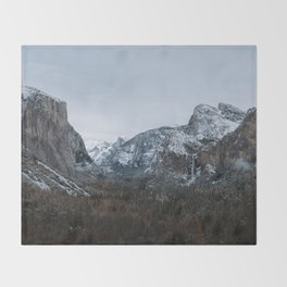 Snow in Yosemite Valley Throw Blanket