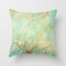 Marble effect blue and gold Throw Pillow
