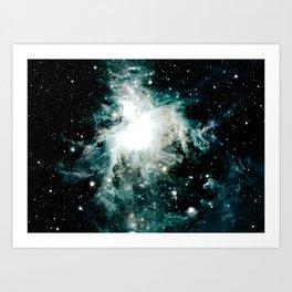 Orion Nebula Teal Green Gray Art Print