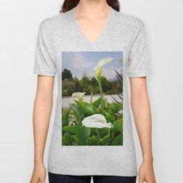 Three Cream Calla Lilies With Garden Background Unisex V-Neck