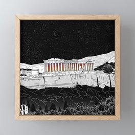 Parthenon black and white Framed Mini Art Print