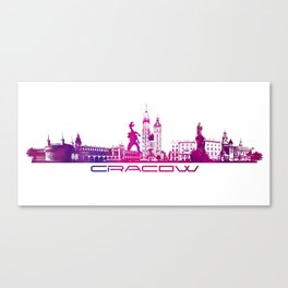 Cracow skyline city purple Canvas Print
