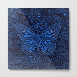 Monarch Butterly in Blue Metal Print