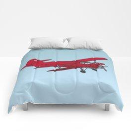 Red biplane Comforters
