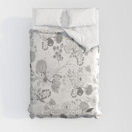 Modern elegant black white rustic floral illustration Comforters