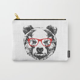 Portrait of Bear with glasses. Carry-All Pouch