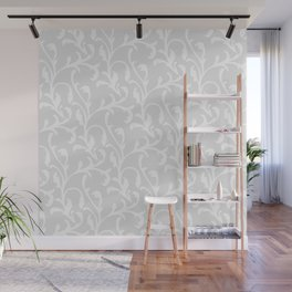 Pastel gray white abstract vintage damask pattern Wall Mural