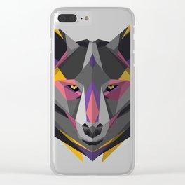Triangular Geometric Wolf Head Clear iPhone Case