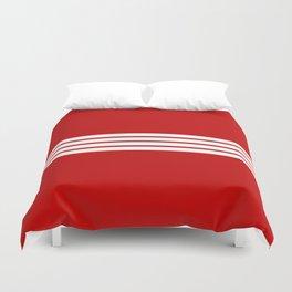 4 White Stripes on Red Duvet Cover