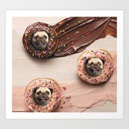 Pugs Succulent Donuts Art Print