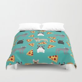 frenchie pizza cute funny dog breed pet pattern french bulldog Duvet Cover