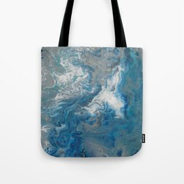 Blue Waves, abstract poured acrylic, blue, white, silver and black Tote Bag