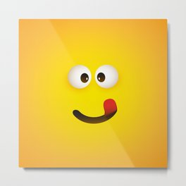 Smiling Emoji with Stuck Out Tongue Metal Print