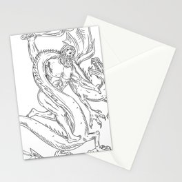 Hercules Grappling Dragon Drawing Black and White Stationery Cards