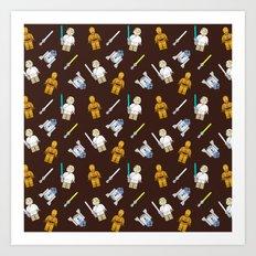 R2D2+3CPO+Luke in Brown Art Print