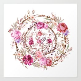 Bouquet of MOST Beautiful Vintage Rose - wreath Art Print