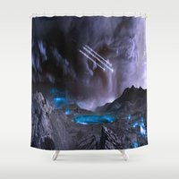 planet Shower Curtains featuring Extraterrestrial Landscape : Galaxy Planet by 2sweet4words Designs