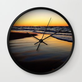 Beach after the Wave at Sunset Wall Clock