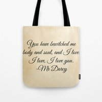 jane austen Tote Bags featuring Jane Austen  by heartfeltdesigns by Telahmarie
