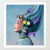 Beautiful girl with fantasy make up and fishes Art Print