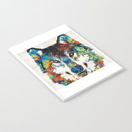 Wolf Art Print - Hungry - By Sharon Cummings Notebook