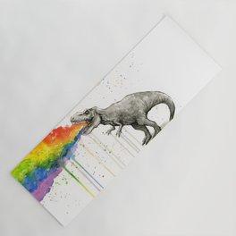 T-Rex Dinosaur Vomits Rainbow Yoga Mat
